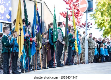 10th - November - 2019 - Hanley. Stoke on Trent, Staffordshire - Serviceman, past and present attend the Remembrance Day, armistice day parade in the city centre of Stoke on Trent, Staffordshire