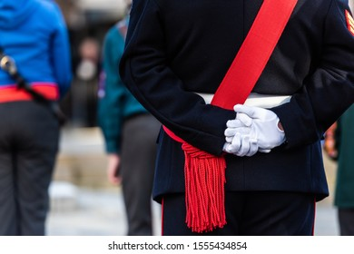 10th - November - 2019 - Hanley. Stoke on Trent, Staffordshire - A soldier stands with his hands behind his back at the Remembrance Day, armistice day parade in the city centre of Stoke on Trent,