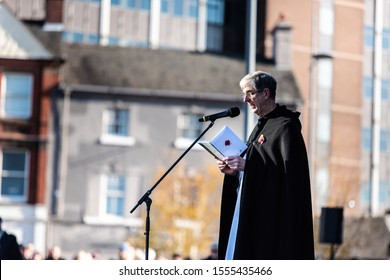 10th - November - 2019 - Hanley. Stoke on Trent, Staffordshire - A minister takes the service for the annual Remembrance Day, armistice day parade in the city centre of Stoke on Trent, Staffordshire