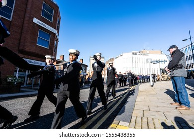 10th - November - 2019 - Hanley. Stoke on Trent, Staffordshire - Serviceman past and present march off from the parade of Remembrance, Armistice day in the city centre of Stoke on Trent, Staffordshire