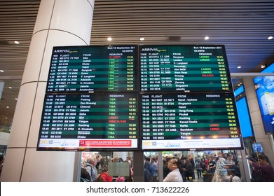 10th September 2017,KLIA,Malaysia.Flight arrivals electronic signage board at an international airport.