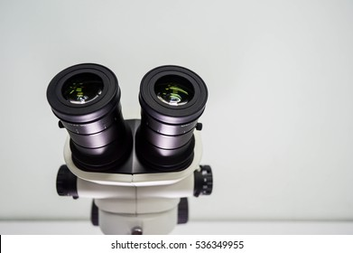 10X eyepieces (ocular lens) of stereo microscope in laboratory, selective focus