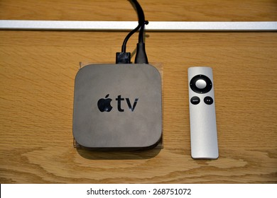 11 April 2015 - Istanbul, Turkey: View of a third generation Apple TV and its remote control. The Apple TV is a digital media player developed by Apple Inc.