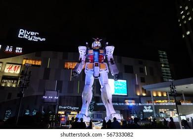 11 April 2016. Gundam Front Tokyo at Diver City Tokyo Plaza in Odaiba, Tokyo, Japan.