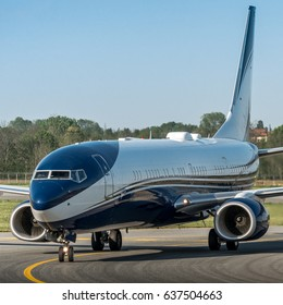11 April 2017 Boeing B739 BBJ has been one of the numerous private airplanes arrived in Turin Caselle Airport  for the Champions Leauge match Juventus-Barcelona.  Torino 11/04/2017
