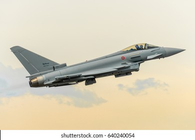 11 April 2017 Leonardo Eurofighter Typhoon 2000 fast departure from runway 36 of Turin Airport, Itlay. Two EFA made a small airshow to celebrate the release of the 500th exemplar. Torino 11/04/2017