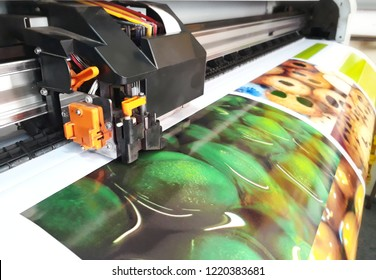 11 August 2018, Selangor Malaysia ; Large Format Printer inkjet working on glossy sticker. Widely used by advertising industry.