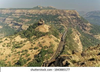 11 Dec 2005 Central Railway passing through Bhor Ghat or Bor Ghat in Western Ghats ; Deccan Plateau ;Khandala ; Maharashtra ; India