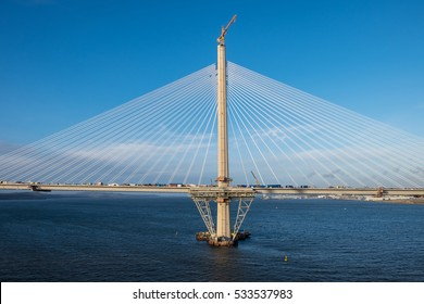11. DEC. 2016 - Section of the - still under construction - Queensferry Crossing, a new  cable-stayed bridge spanning over the Firth of Forth. Scotland, Edinburgh, UK