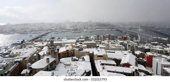 11 december 2013 turkey istanbul. heavy snow days in istanbul turkey.