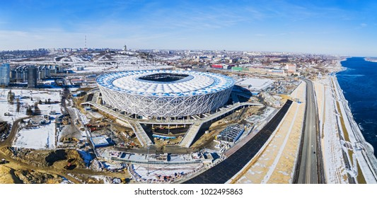 11 February, 2018. Panoramic drone view on the football stadium Volgograd Arena, constructing for FIFA World Cup 2018
