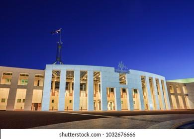 11 July 2010: Canberra, Australia - Australia's Parliament House in Canberra, illuminated at twilight.