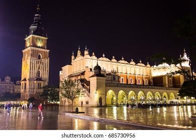 11 of July 2017-Poland, Krakow. Market Square at night