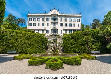 11 May 2012,  facade of Villa Carlotta at Tremezzo, on lake Como, Italy.