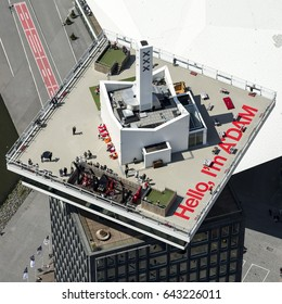 11 May 2015, Amsterdam. Aerial view of sky deck at ADAM TOWER, an observation deck with an unrivaled panoramic view of Amsterdam. Over the Edge is Europe's highest swing on the sky deck.