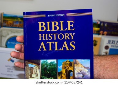 11 May 2018 A hard back Bible Atlas available for purchase at the souvenir shop at the Garden Tomb site in Jerusalem Israel