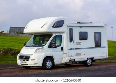 11 October 2018 A white 2 berth Fiat Ducato motor home parked at Ballyholme Bay in Bangor Northern Ireland