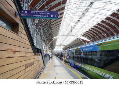 11 October 2019, London England, The Train Heathrow Express at the London Paddington station. Heathrow Express is an airport rail link between London Heathrow Airport and London Paddington.