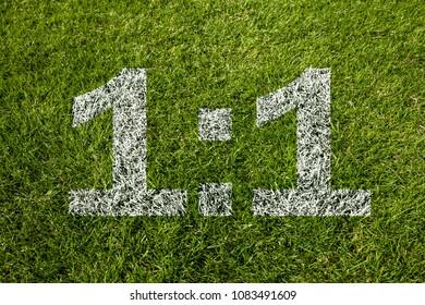 1:1 score on soccer meadow