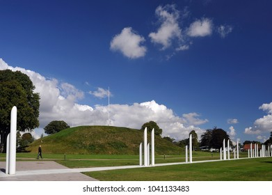 11 Sep 2013. Jelling, Denmark. The most southern viking burial mound of the two in Jelling. The monumnt area enjoys UNESCO World Heritage patronage and comprises a modern viking museum.