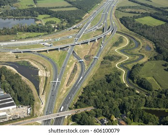 11 September 2015, Eindhoven, Netherlands. Aerial view of junction De Hogt. It connects highway A2 with freeway A67 and secondary road N2 near the city of Veldhoven.