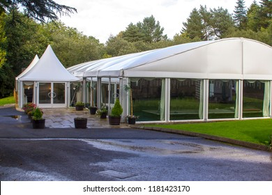 11 September 2018 The large canvas marquee at Beech Hill Country House Hotel in Londonderry Northern Ireland. Used for events such as wedding receptions etc.