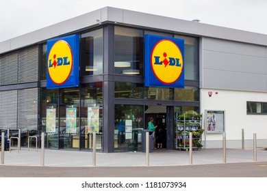 11 September 2018 The modern LIDL store front and entrance entrance in Magherafelt Northern Ireland withe the distinctive LIDL trademark sign.
