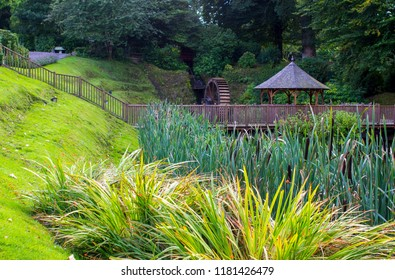 11 September 2018 Part of the decorative gardens at Beech Hill Country House Hotel in Londonderry Northern Ireland with its beautiful pond and water features.