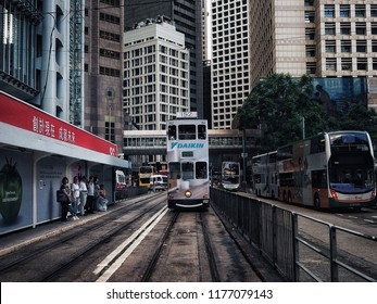11 September 2018,Hong Kong.Tramcar is Landmark of Hong Kong. Tramcar is icon of Hong Kong.