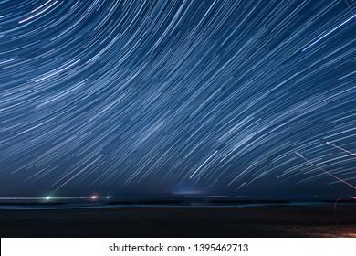 Of 110 minutes,star of the trajectory (Sendai Arahama Coast)