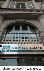 11/01/2019 Turin, Italy-January 11, 2019: Exteriors of Banca Carige Italia