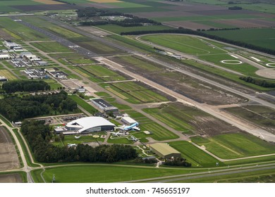 1-10-17, Lelystad, Netherlands. Aerial view of the extension of runway of VLIEGVELD LELYSTAD. The airport is being expanded into a centre for charter and budget airlines. On the left museum Aviodrome