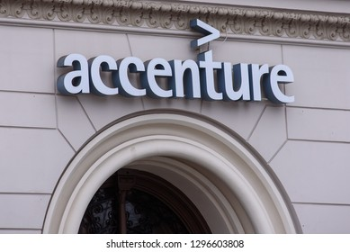 11.02.2018. RIGA, LATVIA. Logo of Accenture company. Accenture is a global management consulting and professional services firm that provides strategy, consulting and more.