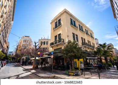 11.03.2018 Atnens, Greece - houses and streets of Athens, modernity.