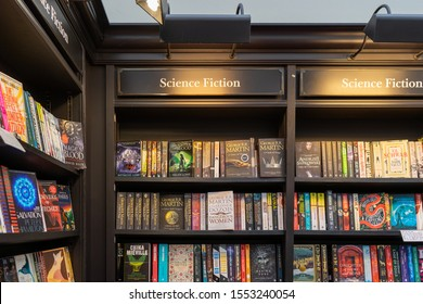 11/06/2019 Winchester, Hampshire, UK science fiction Books for sale on shelves in a book store or book shop