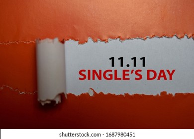 11.11 Single's Day Text written in torn paper. Medical concept