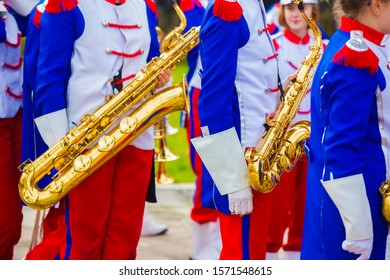 11.11.2019 Kielce/Poland - Marching Band during independence day in Poland. Children playing wind instrument- flute saxophone bassoon.