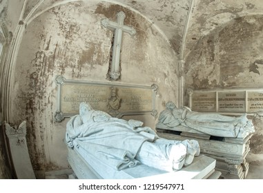 1.11.2018 Drogosze Masuria Poland - chapel with coffins in the palace in Drogosze