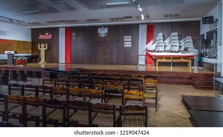 1.11.2018 Gdansk Poland - BHP room in the Gdansk Shipyard