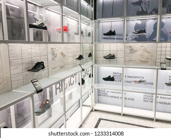 11/16/18 - New York, NY - Nikes new flagship store House of Innovation opens on 5th Avenue. Sneaker displays throughout the store.