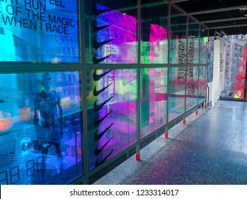 11/16/18 - New York, NY - Nikes new flagship store House of Innovation opens on 5th Avenue.  Colorful banners in walkway.