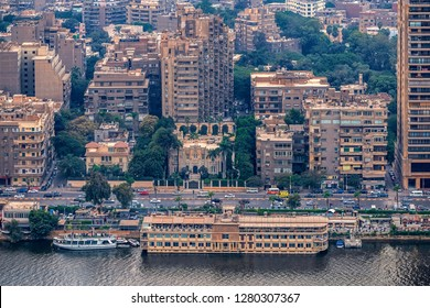 11/18/2018 Cairo, Egypt, panoramic view of the central and business part of the city from the observation deck at the highest tower of the African capital at sunset