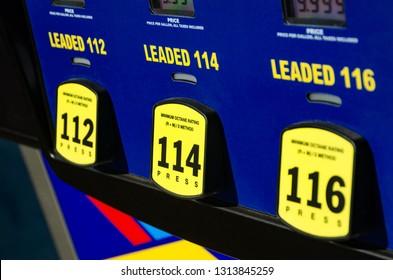 112 octane , 114 octane , or 116 octane. At the Gas station. High Octane gas fuel pump