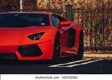 11/25/16 - Englishtown, NJ - The Lamborghini Aventador in red blends with the fall colors.