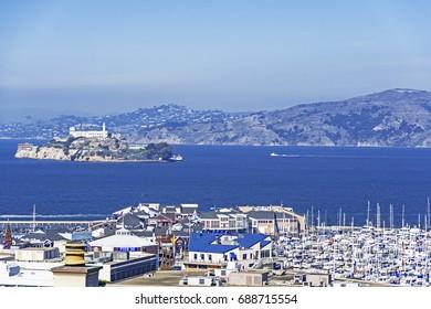 11/25/2014 San Francisco, California Fisherman's Wharf, Pier 39, Alcatraz Island.