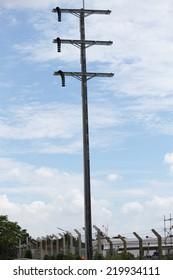 115 kV Concrete Pole for Power Distribution, under-construction.