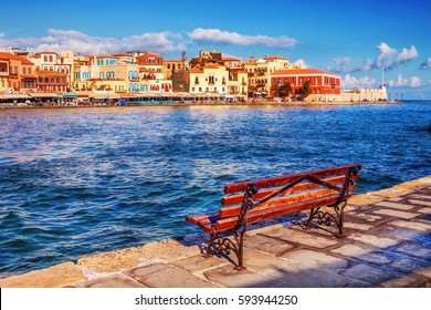 11.9.2016 - Bench with a view of the Old Port in Chania, Crete island, Greece