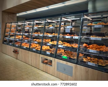 11th December 2017. Finland, Espoo, Mankkaa. Rack full of bakery products in supermarket called lidl. Lidl store is famous food market.