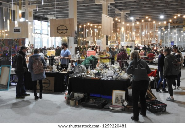 11th December 2018 Dublin. Market Stalls and shoppers in the indoor Dublin Flea Christmas Market in Point Square, East Wall Rd, North Docks.