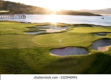 11th February, 2019  Pebble Beach Golf Links, CA, USA  The famous and dramatic 17th hole at Pebble Beach Golf Course during the AT&T Pebble Beach Pro-Am - will be the site of the 2019 US Open